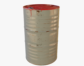 3D asset Red Painted Oil Drum