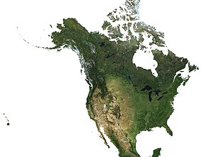 High detailed relief map of USA-Canada-Mexico 3D