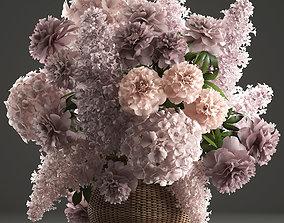 Bouquet of flowers in a basket 4 3D model