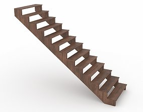 3D model rigged Wooden stairs
