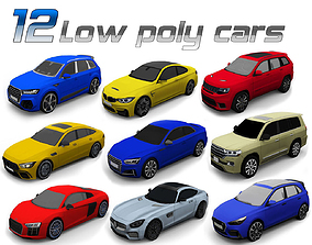 12 Low poly cars 3D model low-poly