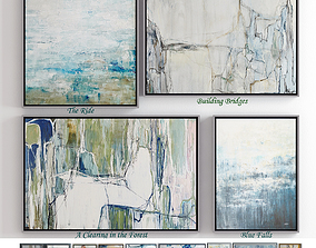 The collection of contemporary paintings set 3D