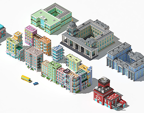 3D asset Collection of low poly buildings volume 1
