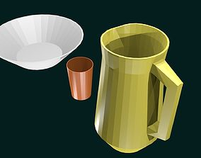 Low poly dishes 3D asset
