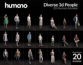 Humano 20-Collection 04 - DIVERSE PEOPLE - 20x 3D