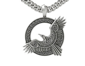 3D printable model cool celtic pendant raven