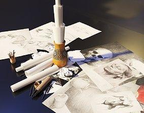 Artist Studio Drawing Set 190 04 3D model
