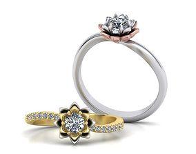 Engagement ring Own Flower Lotus design 3D print model