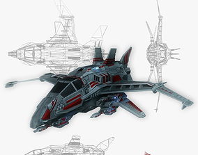 3D asset Spaceship fighter 1 game ready