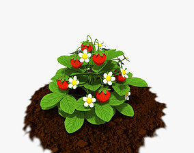 Cartoon Strawberry Plant 3D model