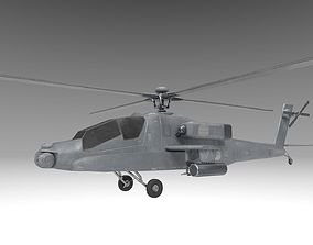 3D asset Military AH64 Apache Helicopter