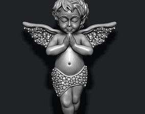 3D print model baby angel pendant with gems