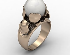 Orchid ring with pearl 3D printable model