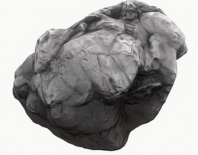 3D model low-poly asteroid Meteor Asteroid Rock 4K