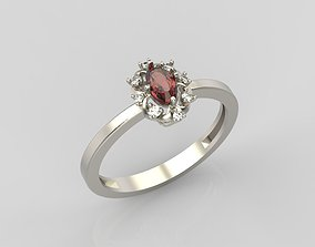 3D printable model Ring with gem and diamonds
