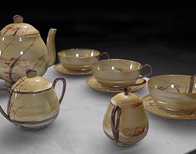 3D Vintage china coffee set - kit