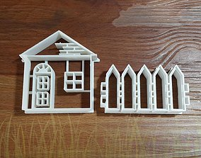 3D printable model House and fence cookie cutter