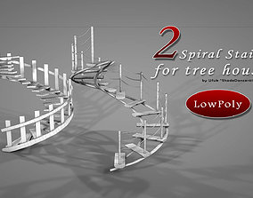 3D asset Tree House Spiral Stairs