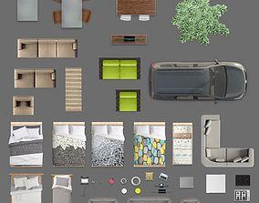 2d furniture floorplan top view PSD 3D model render top 1