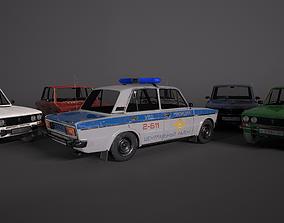 3D asset VAZ-2106 Pack Police and 5 color PBR