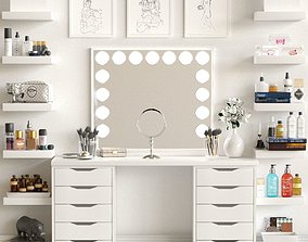 Dressing table with cosmetics for lady 3D