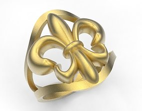 heraldic lily 3D printable model gold