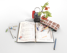 3D model School Stationery with Mountain Ash Branch