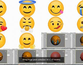 3D model Emoji huge pack collection 10 x love