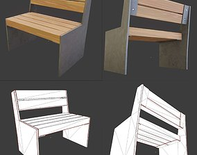 Park Bench 8 Oak Metal Frame 1 3D model game-ready
