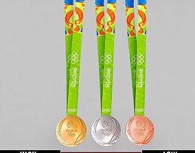 Rio olympic medal sport pack 3D model