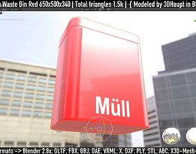 3D Petrol Station Waste Bin Red 650x500x340