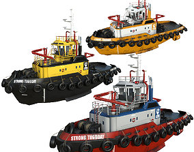 set Tug boats 30 m Pack 3D asset