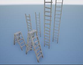 3D asset low-poly Wooden Ladder