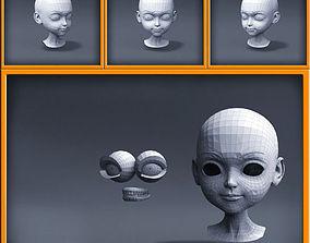 realistic 3D asset Cartoon girl head