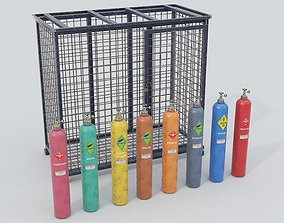 8-types of Old Industrial Gas Cylinders 3D model