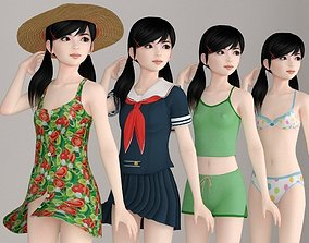 Manami various outfit pose 01 3D model