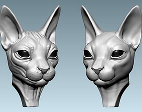 3D printable model sculptures Cat Sphynx Head