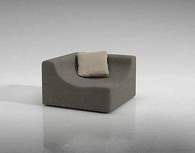 3D Grey Modern Sofa With Pillow