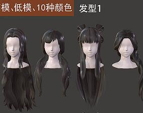 The girl hair Restoring ancient ways braid Long 3D model