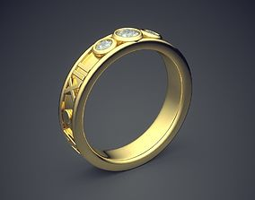 Classic Golden Wedding Rings With 3D print model 3