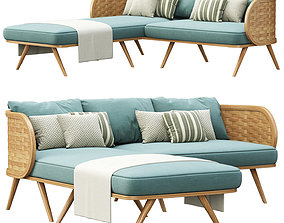 Victoria wooden rattan sofa XY40 with chaise lounge 3D