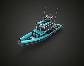 3D Fast Patrol boat blue