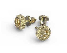 3D print model stud earrings with five petals
