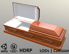 3D asset Casket Cherry Wood - Unity - HDRP - UE4