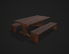 Medieval Dining Table - Chair 3D model