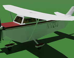Low poly propeller plane 3D model realtime