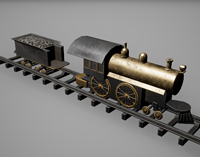 3D asset Toy Locomotive Low Poly Game Ready