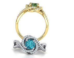 3D print model Spiral Engagement ring 1ct total Gems