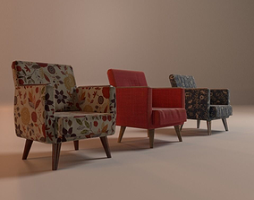 Retro Armchairs 3D asset low-poly