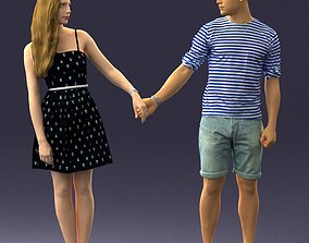 Young couple in shorts and dress 0136 3D